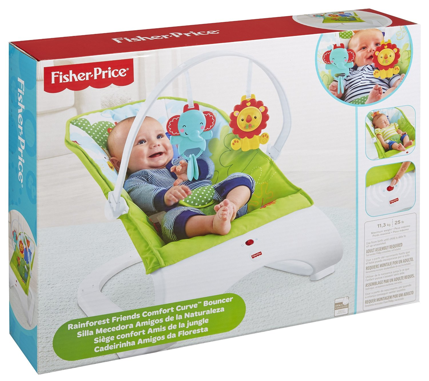 Fisher Price Rainforest Friends Comfort Curve Bouncer Kid Toy