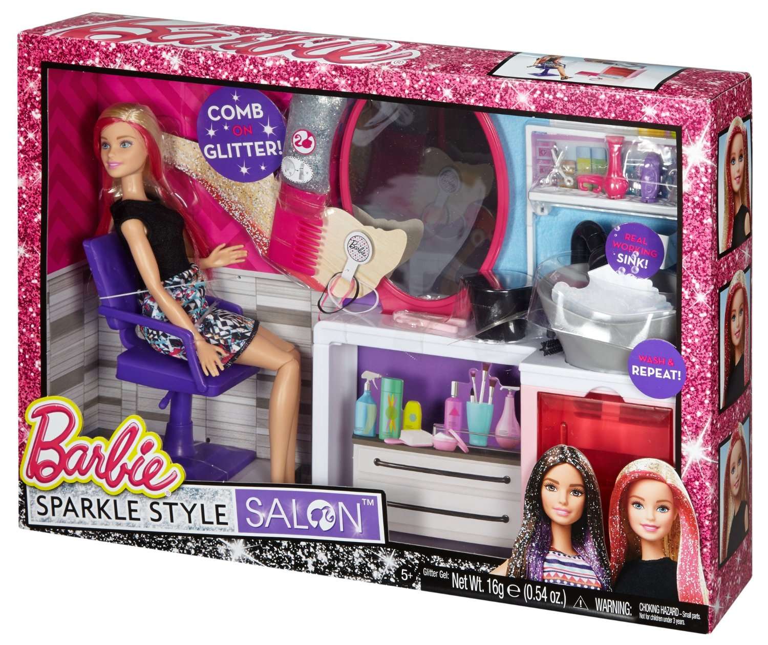 Toy Hair Salon : Barbie sparkle style salon blonde doll playset dtk